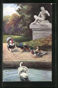 Künstler-AK Alfred Schönian: Pfau, Enten & Schwan an einem Denkmal
