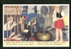 Künstler-AK Willy Schermele: Hans en Grietje, 5. Hans in het hok, Hänsel und Gretel