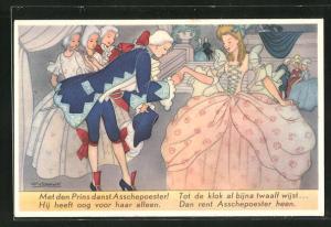 Künstler-AK Willy Schermele: Asschepoester op het bal, Aschenputtel