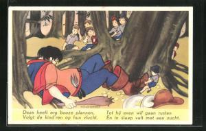 Künstler-AK Willy Schermele: Klein Duimpje, 5. De Wildman valt in slaap, Däumling