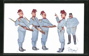 Künstler-AK Fritz Schönpflug: k.u.k. Soldaten, Karikatur