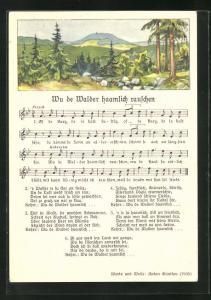 Lied-AK Anton Günther: Wu de Walder haamlich rauschen, Text und Noten