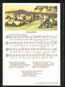 Lied-AK Anton Günther: Feierobend, Text und Noten