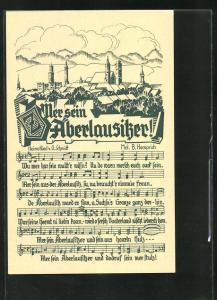 AK Mer sein Äberlausitzer, Heimatlied von O. Schmidt