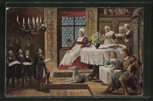 AK Martin Luther als Kurrendeschüler vor Frau Cotta singend