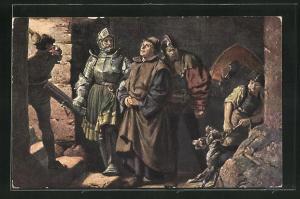 Künstler-AK Wartburg, Reformationszimmer, Luthers Ankunft