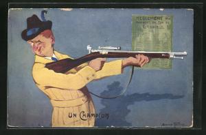 Künstler-AK Grenoble, Concours de Tir, Juin 1911, Un Champion, Schütze mit Gewehr