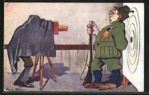 Künstler-AK Grenoble, Concours de Tir, Juin 1911, Fotograf portraitiert Schützen