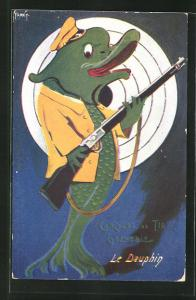 Künstler-AK Grenoble, Concours de Tir, Juin 1911, Le Dauphin, Delfin mit Gewehr vor der Zielscheibe, Schützenverein