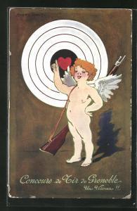 Künstler-AK Grenoble, Concours de Tir 1911, Engel mit Gewehr vor der Zielscheibe, Schützenverein