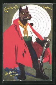 Künstler-AK Grenoble, Concours de Tir, Un Bruleur de Luops, Wolf mit Gewehr, Zielscheibe, Schützenverein