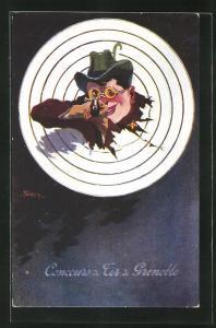Künstler-AK Grenoble, Concours de Tir, 1911, Jäger mit Gewehr im Anschlag schaut durch die Zielscheibe, Schützenverein