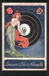 Künstler-AK Grenoble, Concours de Tir 1911, Halbnackte Frau hält eine Rose vor die Zielscheibe, Schützenverein