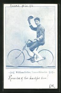 AK Akrobat William Feller, Turmseilkünstler, Radfahrer balanciert auf dem Seil, Radsport