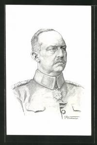 Künstler-AK Erich Ludendorff mit Pour le Merite im Porträt