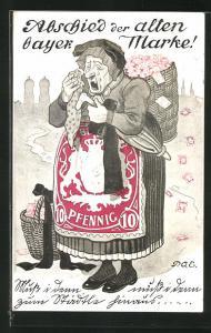 Künstler-AK P. O. Engelhard (P.O.E.): Abschied der alten bayer. Marke, Alte Frau im Briefmarkenkleid trauernd