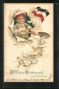 AK Junge mit Schaufel und Mütze neben der Reichsflagge, Kinder Kriegspropaganda