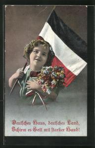 AK Mädchen mit Reichsflaffe und Blumenstrasse, Gedicht, Kinder Kriegspropaganda
