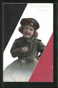 AK Mädchen in Uniform vor der Reichsflagge, Kinder Kriegspropaganda