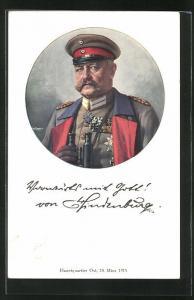 AK Paul von Hindenburg in Uniform mit vielen Orden und Fernglas