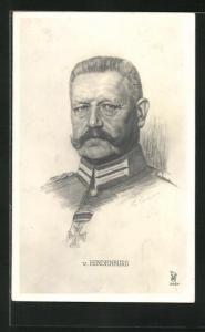 AK Paul von Hindenburg in Uniform mit Pour le Merite