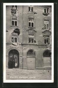 AK Wien, Februaraufstand 1934, Einschusslöcher im Arbeiterheim Ottakring