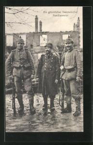 AK Französischer Kriegsgefangener im Lager mit zwei deutschen Soldaten