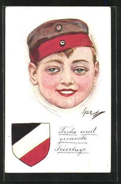 AK Kinder Kriegspropaganda, Bildnis eines Knabens mit Uniformmütze 0