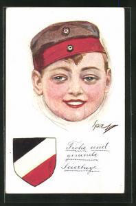 AK Kinder Kriegspropaganda, Bildnis eines Knabens mit Uniformmütze