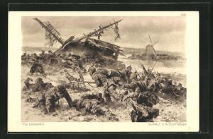 Künstler-AK Anton Hoffmann - München: Deutsches Heer bei den Kämpfen am Yser
