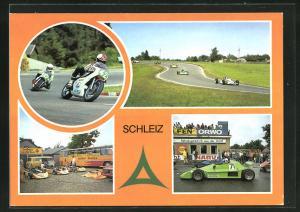 AK Schleiz, Auto- und Motorradrennstrecke, Ausgangs Haarnadelkurve, im Kurvenkarussell derSeng, im Fahrerlager