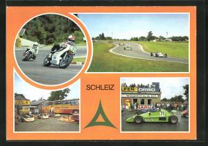 AK Schleiz, Auto- und Motorradrennstrecke, Ausgangs Haarnadelkurve, im Kurvenkarussell der Seng, im Fahrerlager