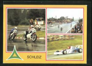 AK Schleiz, 60. Jahre Schleizer Dreieck, 50. Jahre Schleizer Dreieckrenn 1983, Juhasz und Adamovic auf nasser Fahrbahn