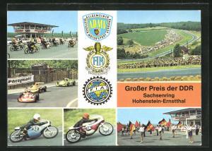 AK Hohenstein-ernstthal, Sachsenring-Rennen, Motorräder am Start, Formelwagen in der Kurve