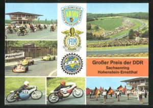 AK Hohenstein-Ernstthal, Sachsenring-Rennen, Grosser Pries der DDR, Motorräder, Formelautos, Grid girls auf Start & Zie