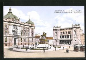 AK Belgrade, Tramway devant le Monument du Prince Michel