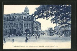 AK Colombo, National Bank of India, Princes`s Street East, Strassenpartie mit Strassenbahn
