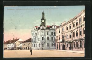 AK Amstetten, Hauptplatz mit Rathaus, Hotel Schmidl und Cafe Rathaus