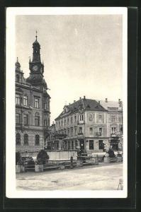 AK Amstetten, -Platz mit Hotel Ginner und Rathaus