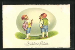 AK Zwerge wünschen fröhliche Ostern