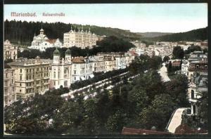 AK Marienbad, Kaiserstrasse mit Blick zur Synagoge