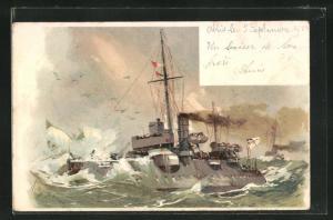 Künstler-AK Willy Stoewer: Kriegsschiff bei schwerem Seegang