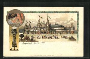 Lithographie Graz, 6. deutsches Sängerbundesfest 1902, Sängerfest-Halle
