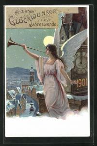 Lithographie Neujahrsengel mit Fanfare vor der Turmuhr, Neujahrsgruss, Ganzsache