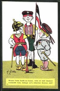 Künstler-AK Heinrich Zille: Soldatenjungen mit Fahne unterhalten sich, Wenn Vata halb so haut...