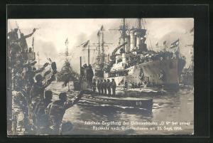 Künstler-AK Willy Stoewer: Wilhelmshaven, Begrüssung des U-Bootes U 9 bei seiner Rückkehr 1914