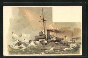 Künstler-AK Willy Stoewer: Kriegsschiff kämpft sich durch die raue See