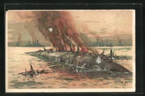 Künstler-AK Willy Stoewer: Untergang des französischen Schlachtschiffes Bouvet bei den Dardanellen