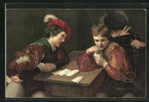 AK Die Falschspieler, Gemälde von Caravaggio, Kartenspiel