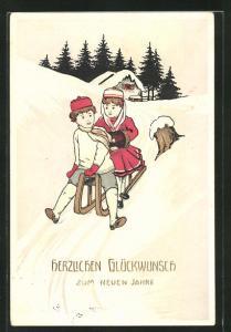 AK Glückwunsch zum neuen Jahre, Kinder mit Schlitten